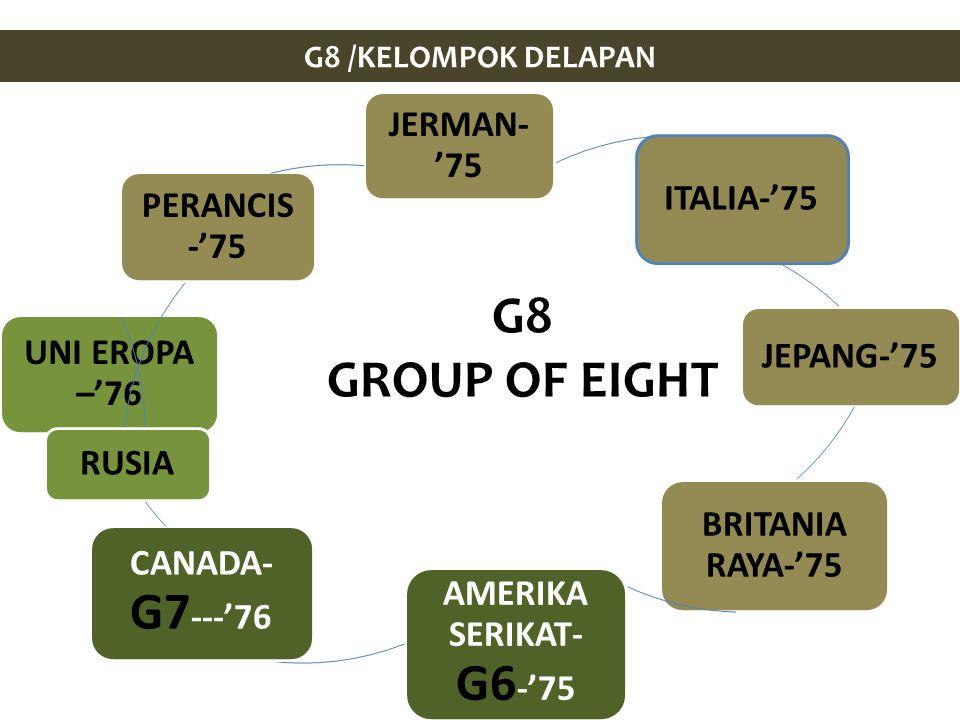 G8 /KELOMPOK DELAPAN JERMAN- '75 ITALIA-'75 JEPANG-'75 BRITANIA RAYA-'75 AMERIKA SERIKAT- G6 -'75 CANADA- G7 ---'76 UNI EROPA –'76 RUSIA PERANCIS -'75