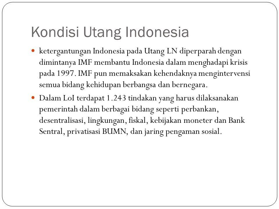 Kondisi Utang Indonesia Menurut data terakhir Bappenas 2006, utang negara sudah mencapai US$130 miliar, terdiri dari utang luar negeri US$67,9 miliar dan utang domestik Rp658 triliun.