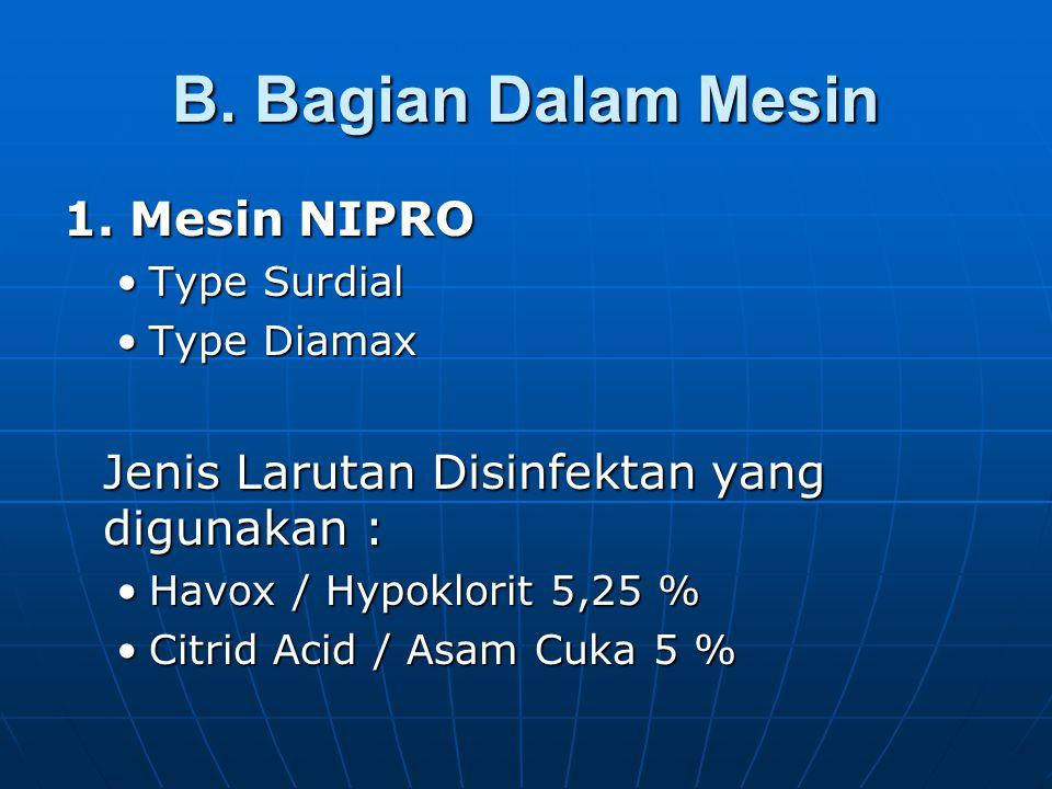 B. Bagian Dalam Mesin 1. Mesin NIPRO Type SurdialType Surdial Type DiamaxType Diamax Jenis Larutan Disinfektan yang digunakan : Havox / Hypoklorit 5,2