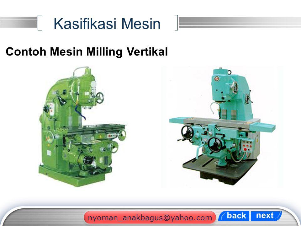 LOGO Kasifikasi Mesin next back nyoman_anakbagus@yahoo.com Contoh Mesin Milling Vertikal
