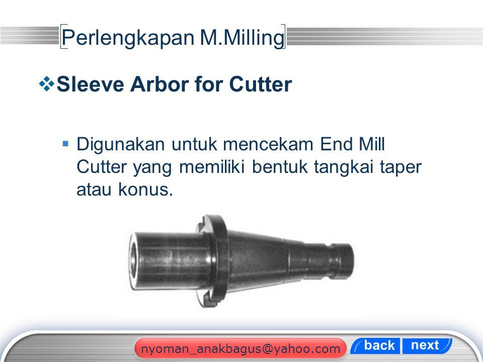 LOGO Perlengkapan M.Milling  Sleeve Arbor for Cutter  Digunakan untuk mencekam End Mill Cutter yang memiliki bentuk tangkai taper atau konus. next b
