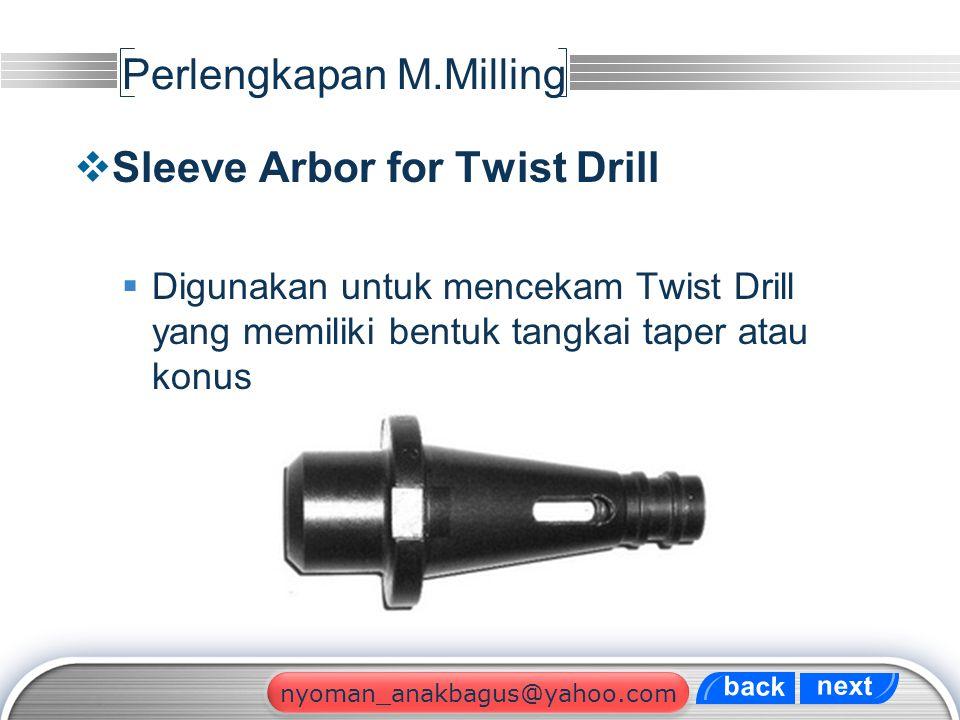 LOGO Perlengkapan M.Milling  Sleeve Arbor for Twist Drill  Digunakan untuk mencekam Twist Drill yang memiliki bentuk tangkai taper atau konus next b