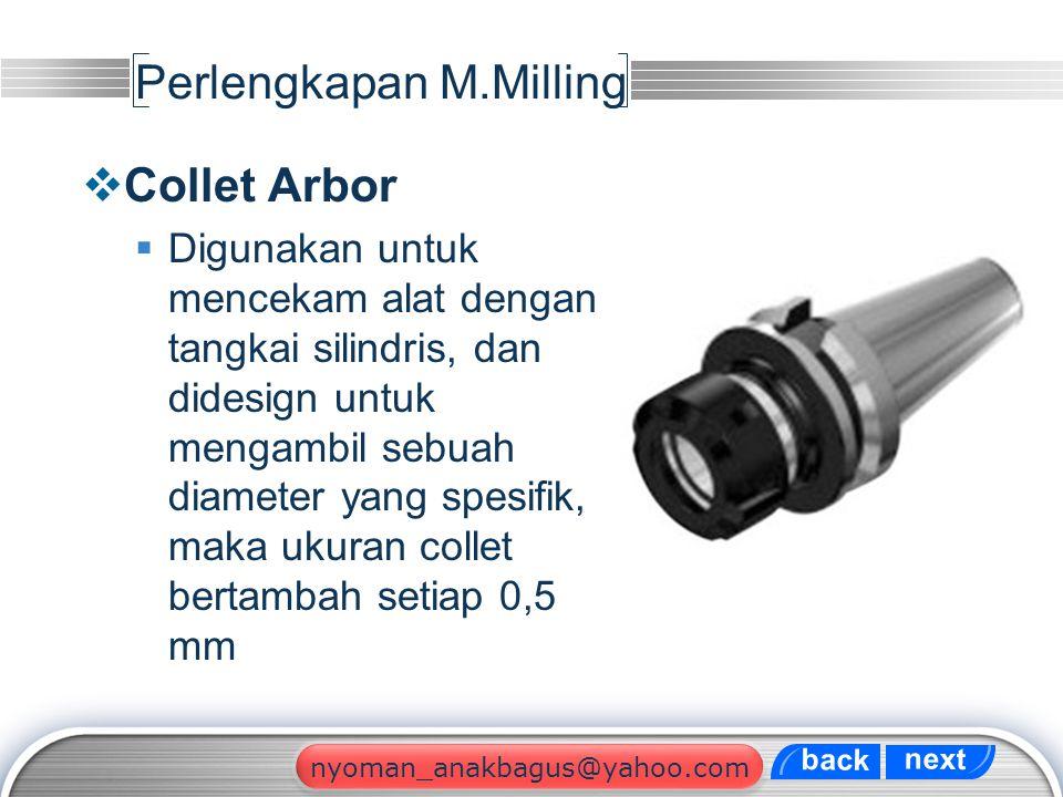 LOGO Perlengkapan M.Milling  Collet Arbor  Digunakan untuk mencekam alat dengan tangkai silindris, dan didesign untuk mengambil sebuah diameter yang