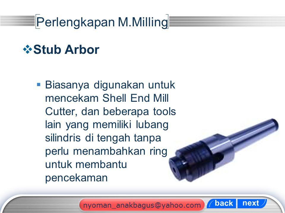 LOGO Perlengkapan M.Milling  Stub Arbor  Biasanya digunakan untuk mencekam Shell End Mill Cutter, dan beberapa tools lain yang memiliki lubang silin