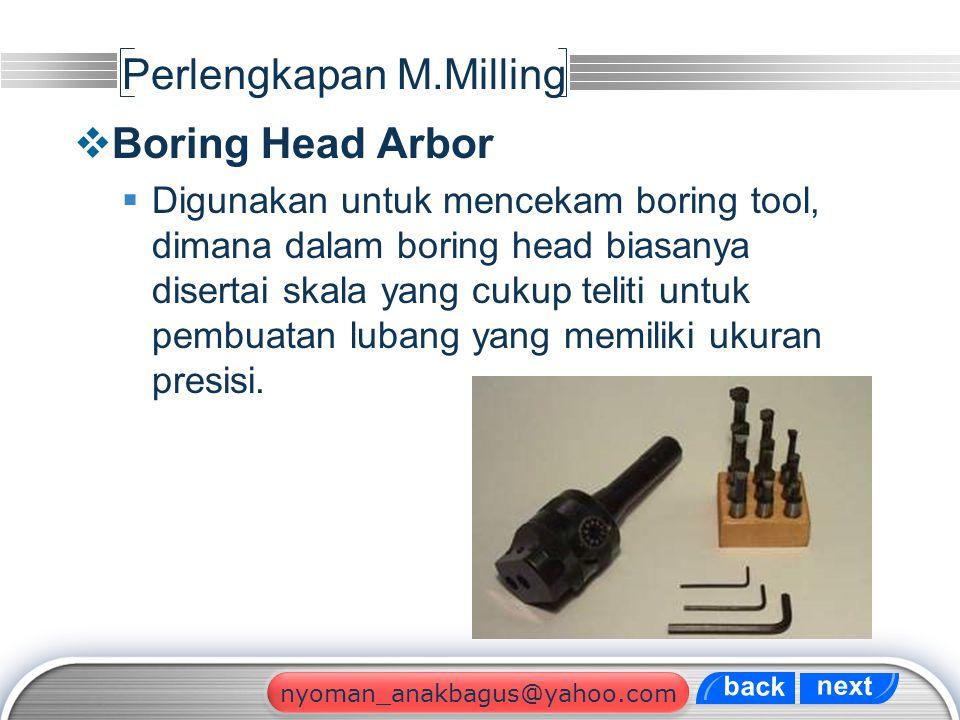 LOGO Perlengkapan M.Milling  Boring Head Arbor  Digunakan untuk mencekam boring tool, dimana dalam boring head biasanya disertai skala yang cukup te
