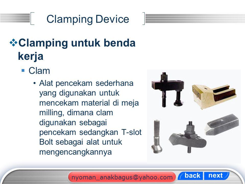 LOGO Clamping Device  Clamping untuk benda kerja  Clam Alat pencekam sederhana yang digunakan untuk mencekam material di meja milling, dimana clam d