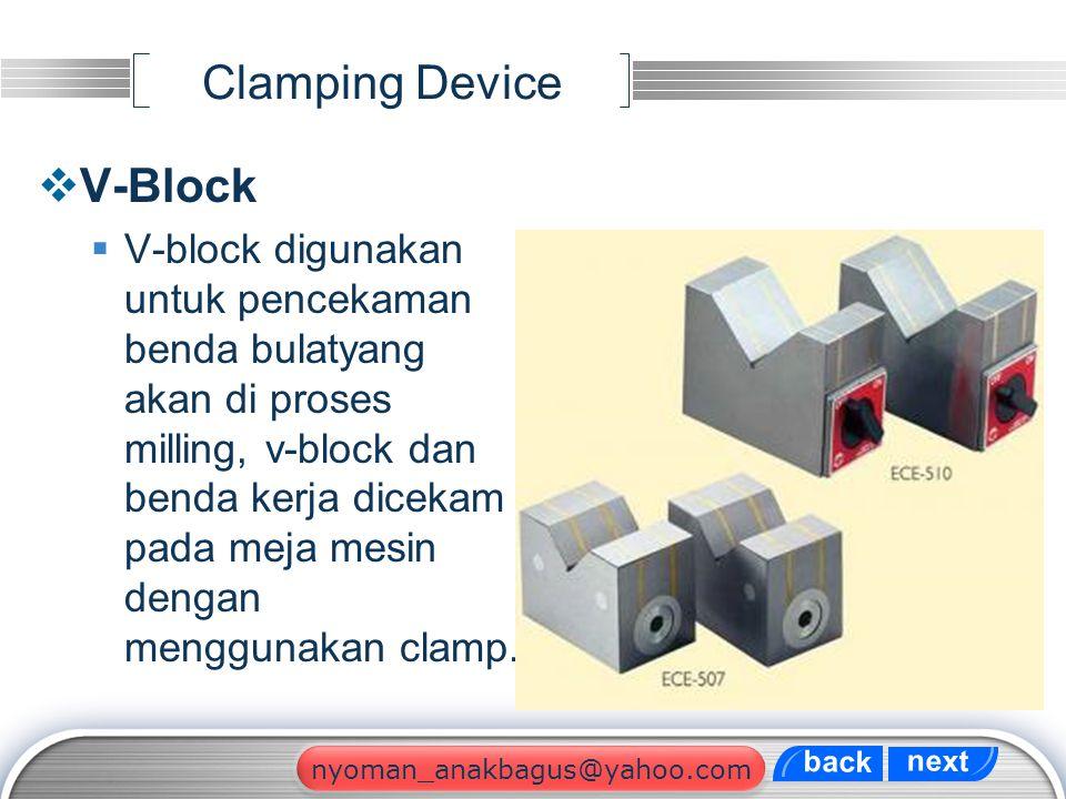 LOGO Clamping Device  V-Block  V-block digunakan untuk pencekaman benda bulatyang akan di proses milling, v-block dan benda kerja dicekam pada meja