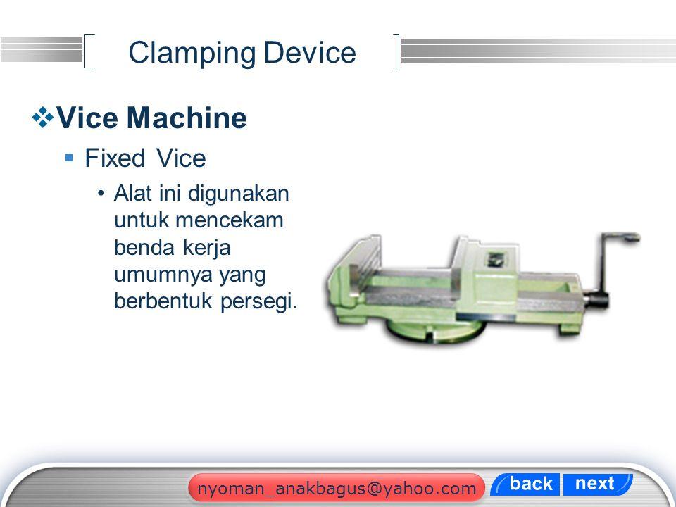 LOGO Clamping Device  Vice Machine  Fixed Vice Alat ini digunakan untuk mencekam benda kerja umumnya yang berbentuk persegi. next back nyoman_anakba