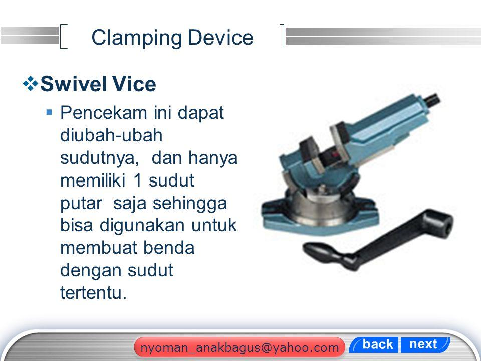 LOGO Clamping Device  Swivel Vice  Pencekam ini dapat diubah-ubah sudutnya, dan hanya memiliki 1 sudut putar saja sehingga bisa digunakan untuk memb