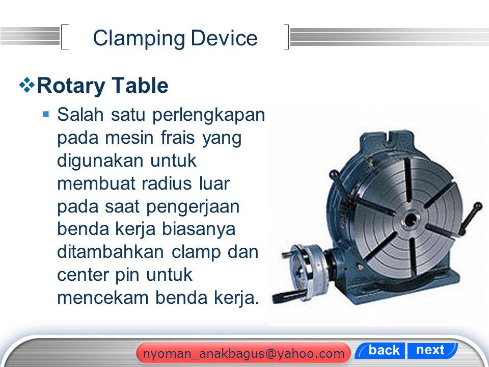 LOGO Clamping Device  Rotary Table  Salah satu perlengkapan pada mesin frais yang digunakan untuk membuat radius luar pada saat pengerjaan benda ker