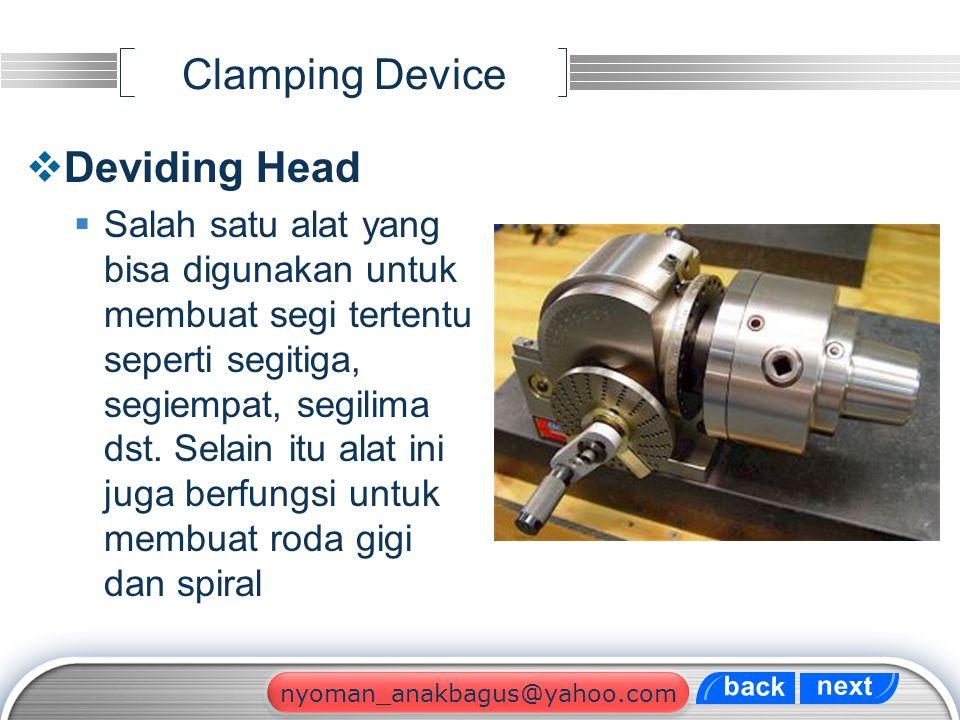 LOGO Clamping Device  Deviding Head  Salah satu alat yang bisa digunakan untuk membuat segi tertentu seperti segitiga, segiempat, segilima dst. Sela