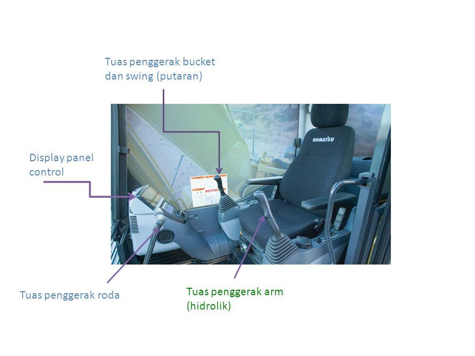 Tuas penggerak roda Tuas penggerak bucket dan swing (putaran) Tuas penggerak arm (hidrolik) Display panel control