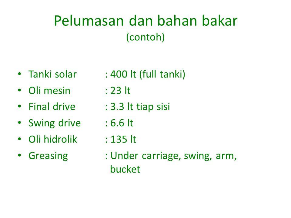 Pelumasan dan bahan bakar (contoh) Tanki solar: 400 lt (full tanki) Oli mesin: 23 lt Final drive: 3.3 lt tiap sisi Swing drive: 6.6 lt Oli hidrolik: 135 lt Greasing: Under carriage, swing, arm, bucket