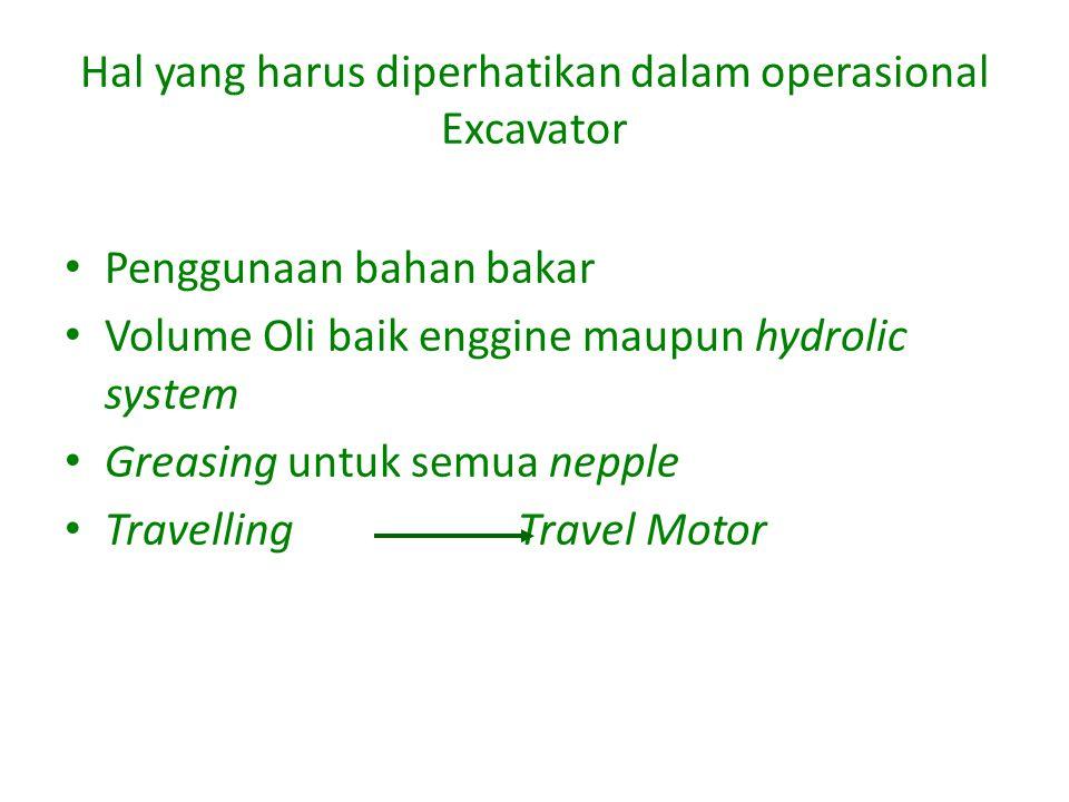 Hal yang harus diperhatikan dalam operasional Excavator Penggunaan bahan bakar Volume Oli baik enggine maupun hydrolic system Greasing untuk semua nepple Travelling Travel Motor