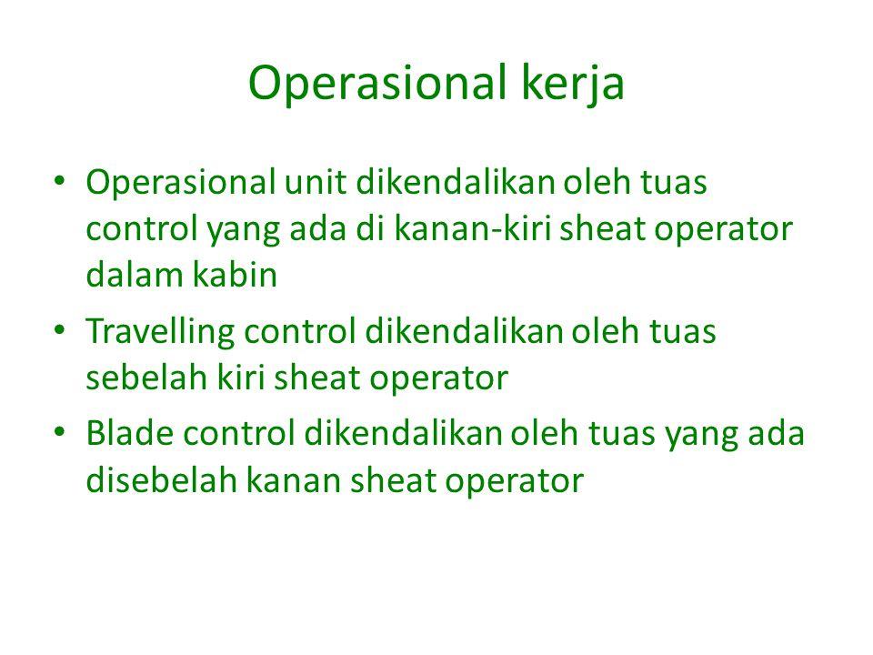 Operasional kerja Operasional unit dikendalikan oleh tuas control yang ada di kanan-kiri sheat operator dalam kabin Travelling control dikendalikan oleh tuas sebelah kiri sheat operator Blade control dikendalikan oleh tuas yang ada disebelah kanan sheat operator