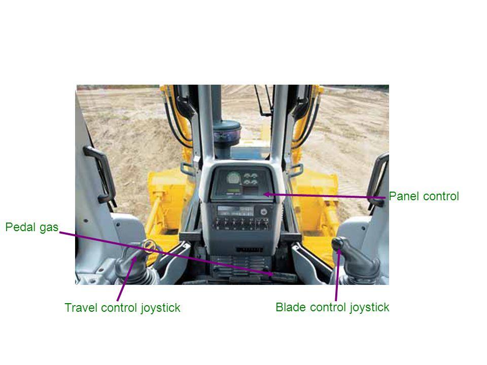 Travel control joystick Blade control joystick Panel control Pedal gas