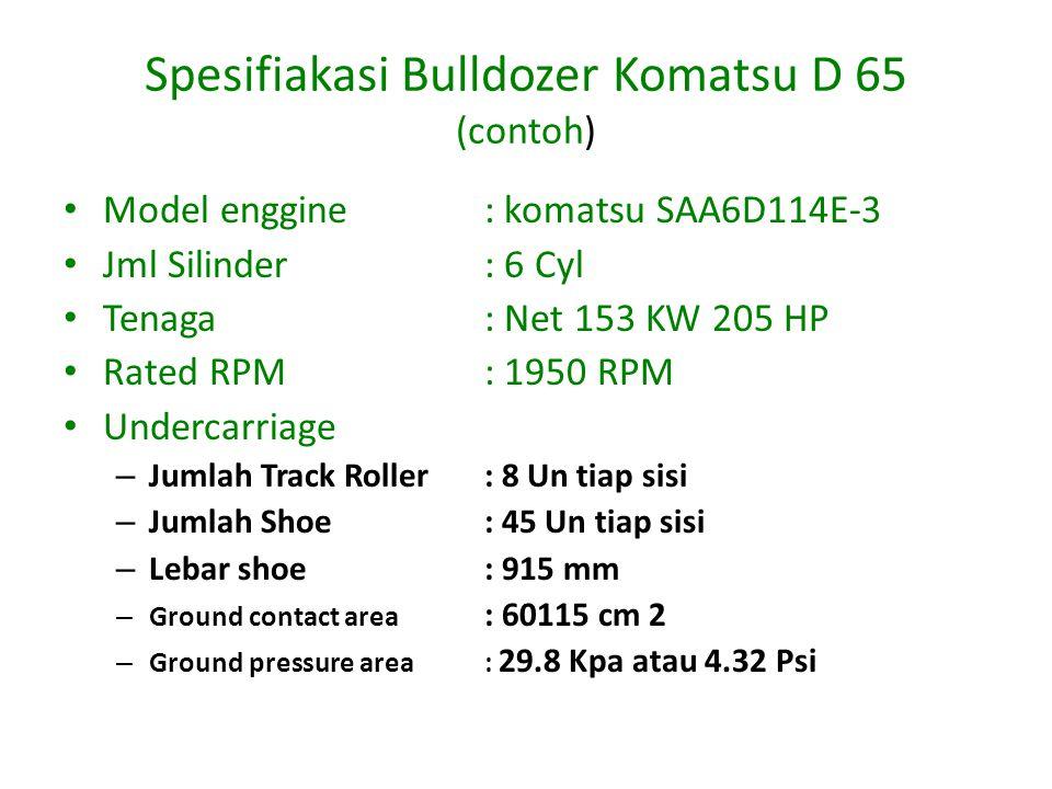 Spesifiakasi Bulldozer Komatsu D 65 (contoh) Model enggine: komatsu SAA6D114E-3 Jml Silinder: 6 Cyl Tenaga: Net 153 KW 205 HP Rated RPM: 1950 RPM Undercarriage – Jumlah Track Roller: 8 Un tiap sisi – Jumlah Shoe: 45 Un tiap sisi – Lebar shoe: 915 mm – Ground contact area : 60115 cm 2 – Ground pressure area: 29.8 Kpa atau 4.32 Psi