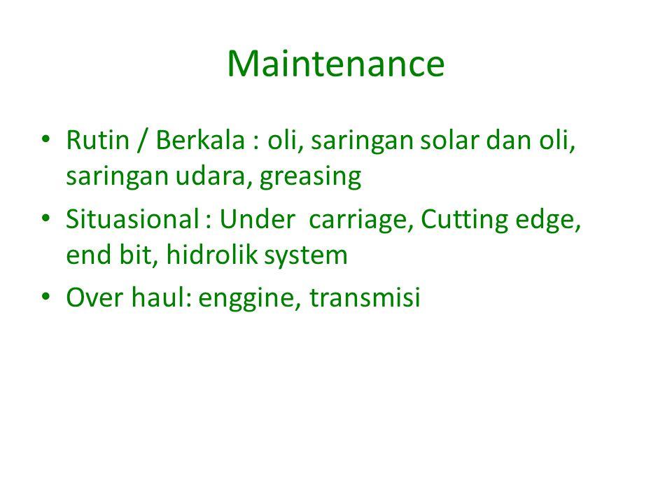 Maintenance Rutin / Berkala : oli, saringan solar dan oli, saringan udara, greasing Situasional : Under carriage, Cutting edge, end bit, hidrolik system Over haul: enggine, transmisi