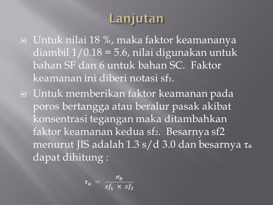  Untuk nilai 18 %, maka faktor keamananya diambil 1/0.18 = 5.6, nilai digunakan untuk bahan SF dan 6 untuk bahan SC.