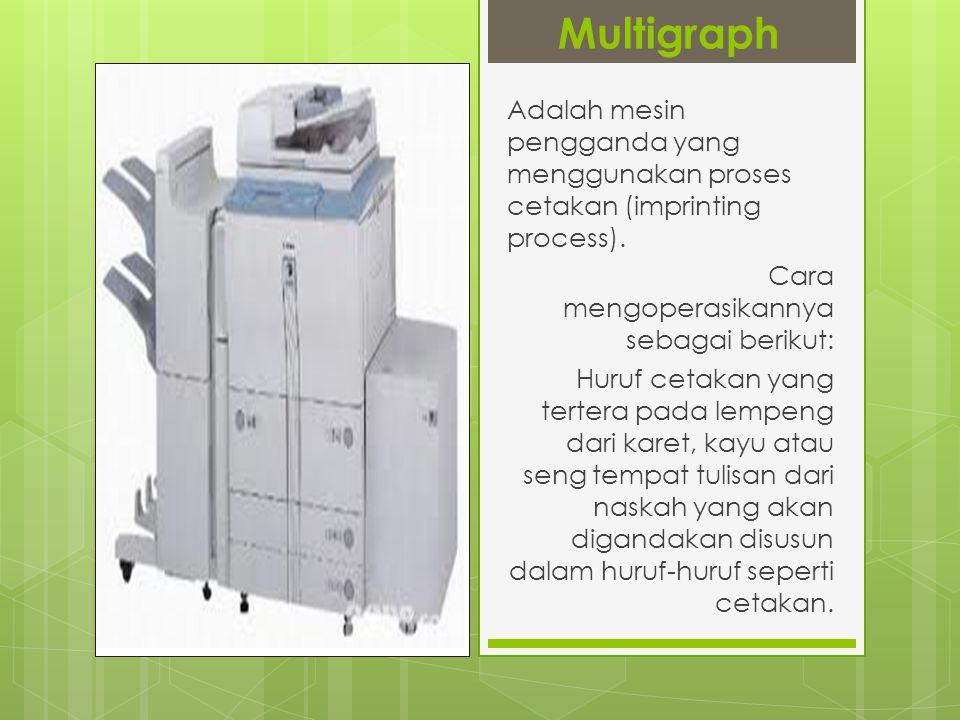 Lanjutan…  Dalam multigraph terdapat alat yang berguna untuk mengatur dan memberikan jumlah tinta yang diperlukan.
