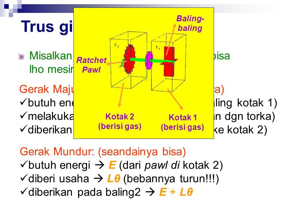 Trus gimana dong??. Misalkan T 1 ≠ T 2, dengan T 1 > T 2  bisa lho mesin Ratchet dan Pawl bekerja.