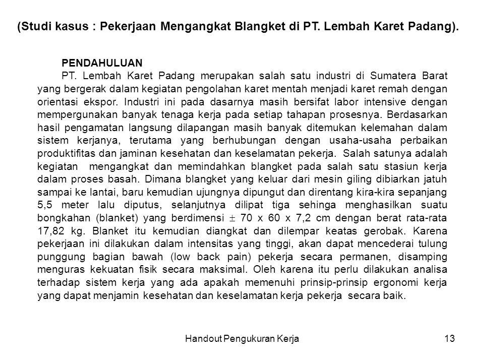Handout Pengukuran Kerja13 (Studi kasus : Pekerjaan Mengangkat Blangket di PT. Lembah Karet Padang). PENDAHULUAN PT. Lembah Karet Padang merupakan sal