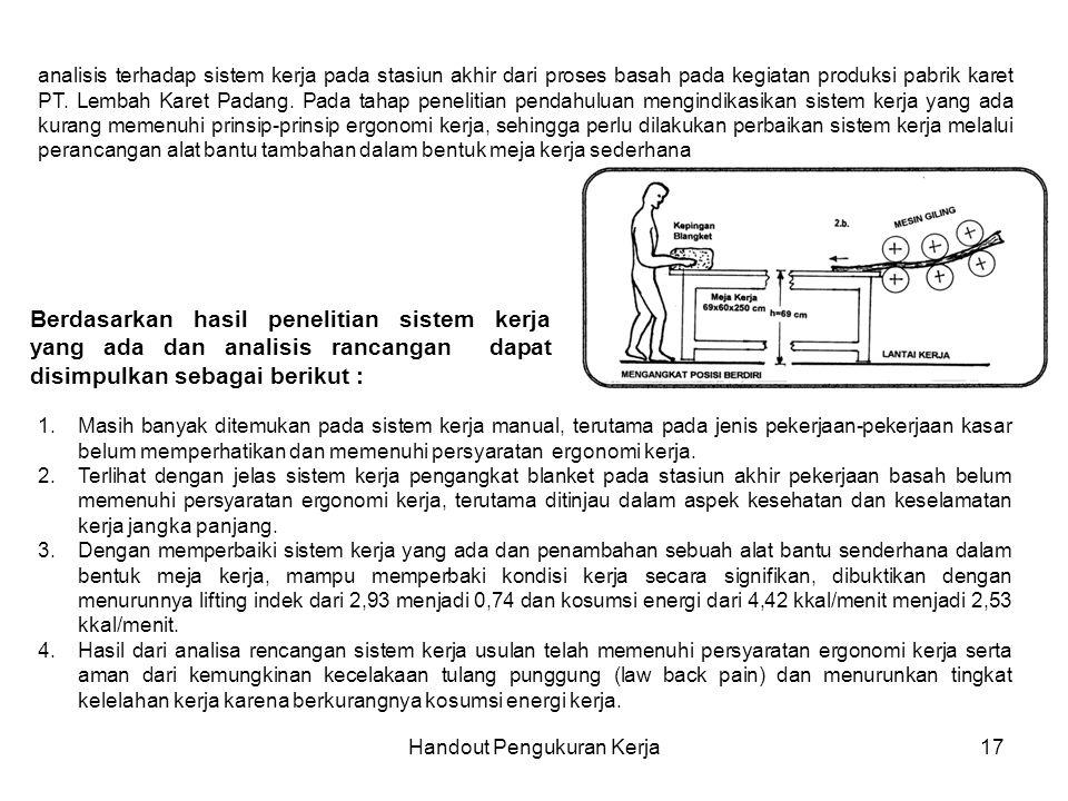 Handout Pengukuran Kerja17 analisis terhadap sistem kerja pada stasiun akhir dari proses basah pada kegiatan produksi pabrik karet PT. Lembah Karet Pa