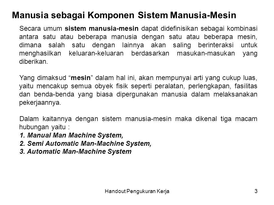 Handout Pengukuran Kerja4 Manual Man Machine System Dalam sistem ini input akan langsung ditransformasikan oleh pekerja/manusia menjadi output.
