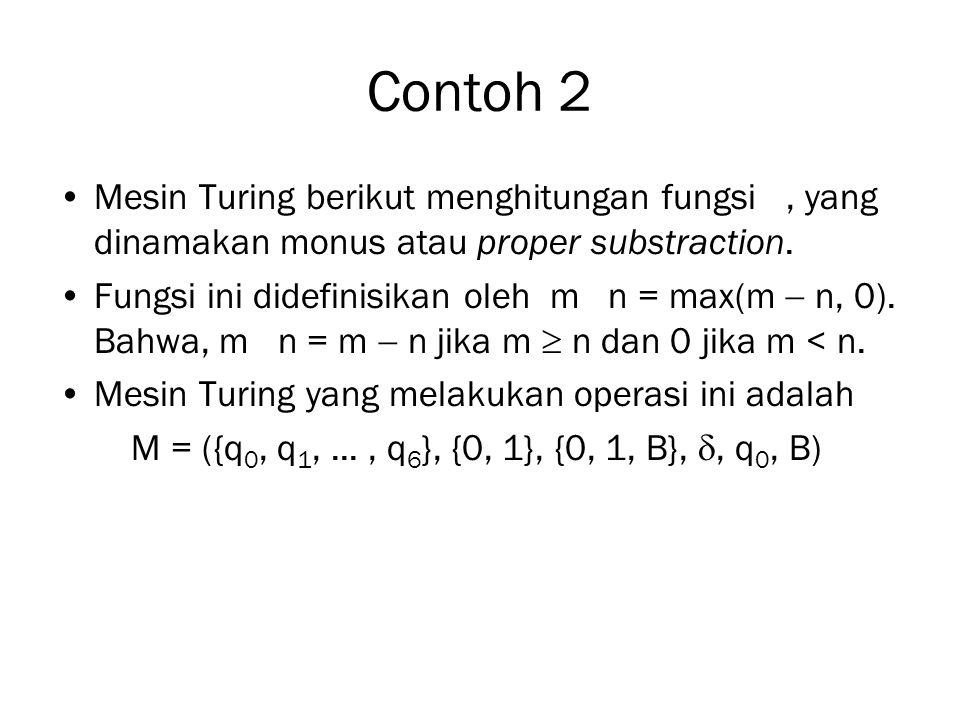 Contoh 2 Mesin Turing berikut menghitungan fungsi, yang dinamakan monus atau proper substraction. Fungsi ini didefinisikan oleh m n = max(m  n, 0). B