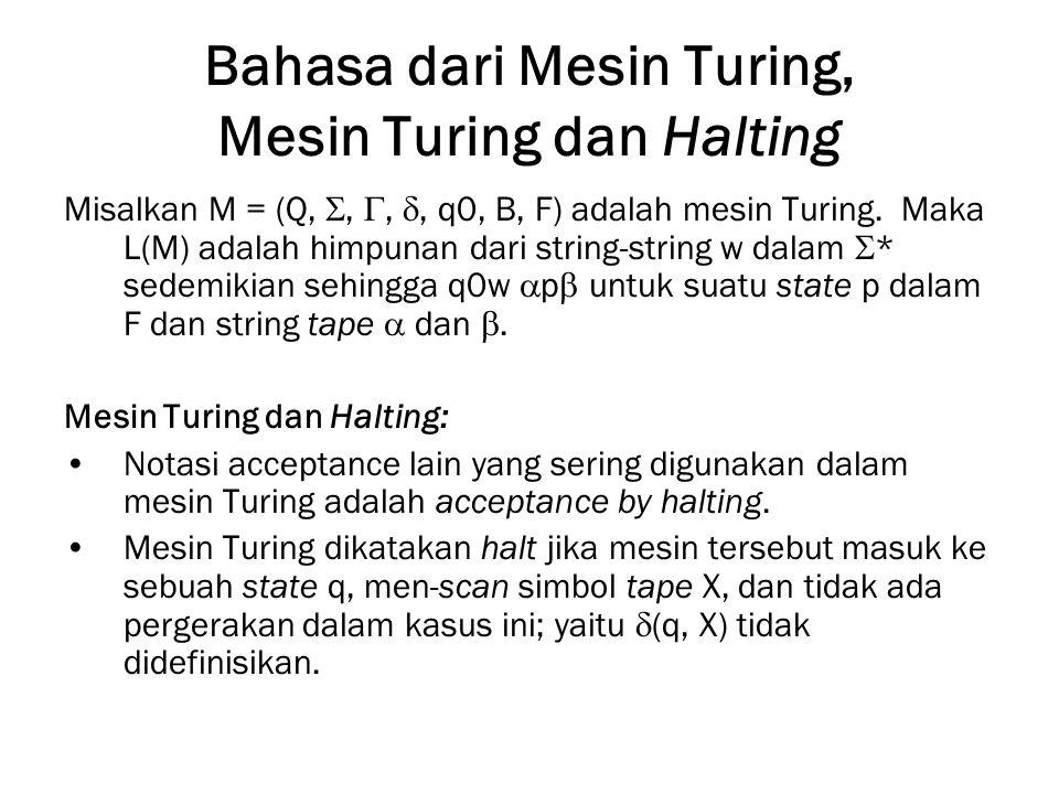 Bahasa dari Mesin Turing, Mesin Turing dan Halting Misalkan M = (Q, , , , q0, B, F) adalah mesin Turing. Maka L(M) adalah himpunan dari string-stri