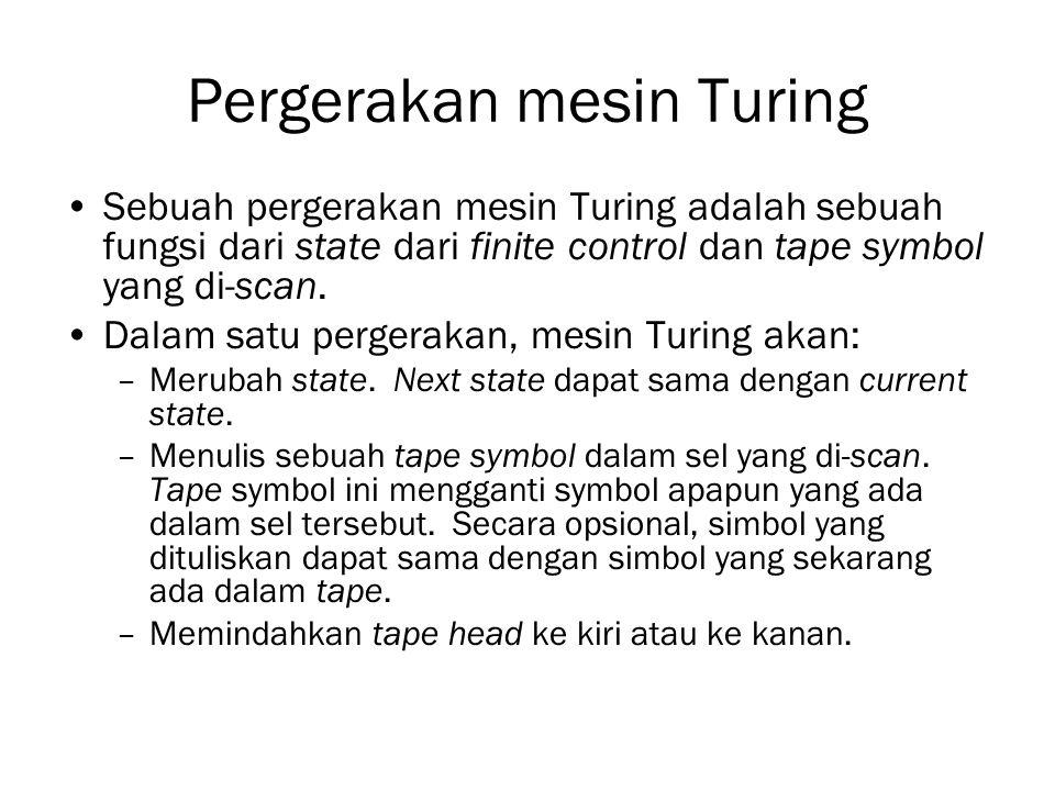 Pergerakan mesin Turing Sebuah pergerakan mesin Turing adalah sebuah fungsi dari state dari finite control dan tape symbol yang di-scan. Dalam satu pe