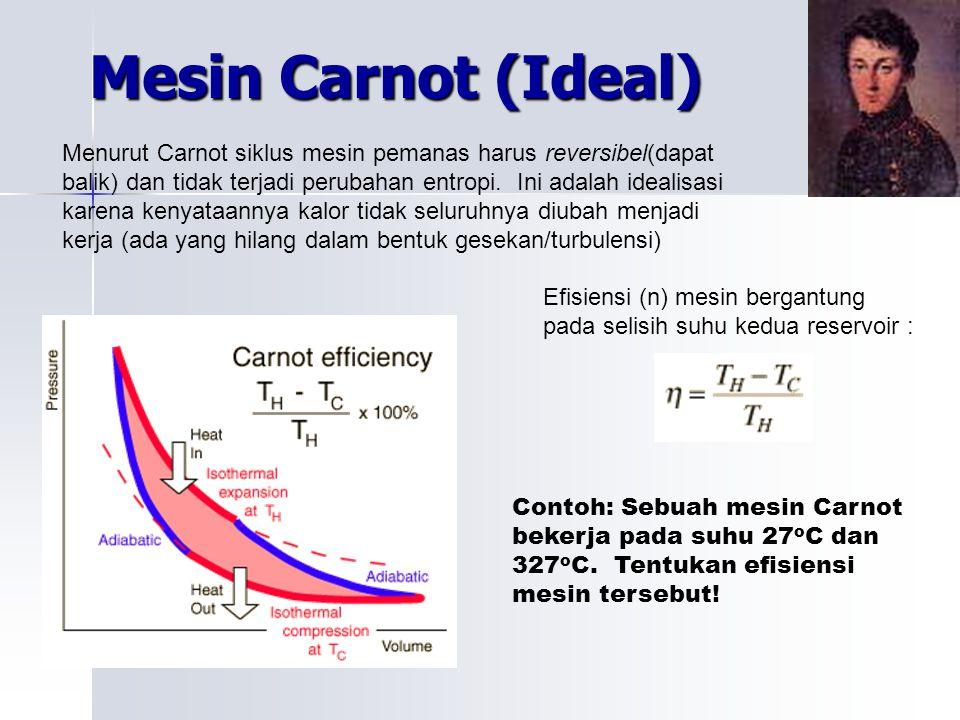 Mesin Carnot (Ideal) Menurut Carnot siklus mesin pemanas harus reversibel(dapat balik) dan tidak terjadi perubahan entropi. Ini adalah idealisasi kare