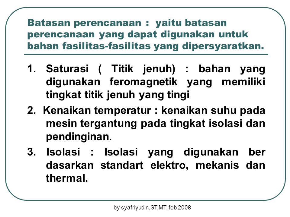 by syafriyudin,ST,MT, feb 2008 Batasan perencanaan : yaitu batasan perencanaan yang dapat digunakan untuk bahan fasilitas-fasilitas yang dipersyaratkan.