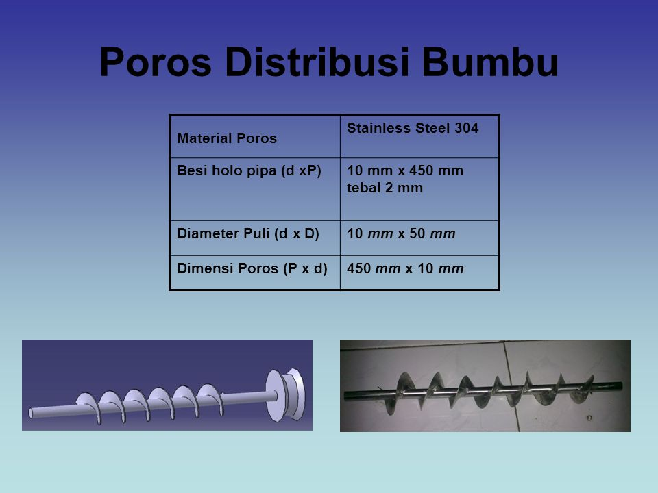 Poros Distribusi Bumbu Material Poros Stainless Steel 304 Besi holo pipa (d xP)10 mm x 450 mm tebal 2 mm Diameter Puli (d x D)10 mm x 50 mm Dimensi Poros (P x d)450 mm x 10 mm