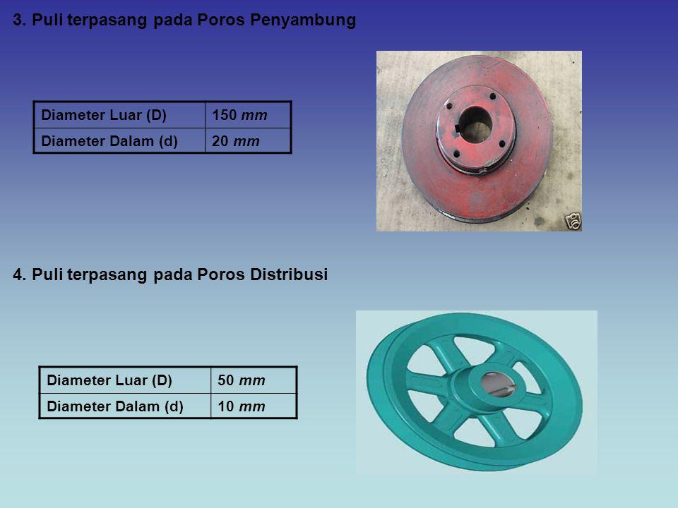 3. Puli terpasang pada Poros Penyambung Diameter Luar (D)150 mm Diameter Dalam (d)20 mm 4. Puli terpasang pada Poros Distribusi Diameter Luar (D)50 mm