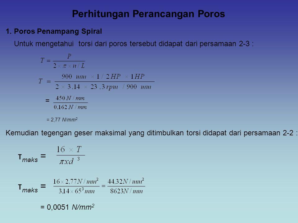 Perhitungan Perancangan Poros 1. Poros Penampang Spiral Untuk mengetahui torsi dari poros tersebut didapat dari persamaan 2-3 : Kemudian tegengan gese