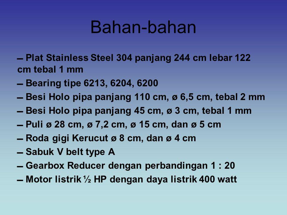 Bahan-bahan  Plat Stainless Steel 304 panjang 244 cm lebar 122 cm tebal 1 mm  Bearing tipe 6213, 6204, 6200  Besi Holo pipa panjang 110 cm, ø 6,5 c