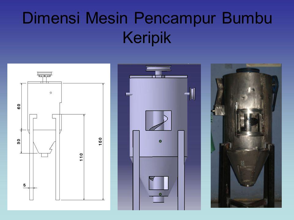 Perhitungan Kapasitas Mesin Pencampur Bumbu Keripik a.Wadah Silinder Volume wadah silinder didapat dari persamaan 2-4 : V = π x r 2 x t = 3,14 x 22,5 2 cm x 60 cm = 95377,5 cm 3 = 0,095 m 3 b.