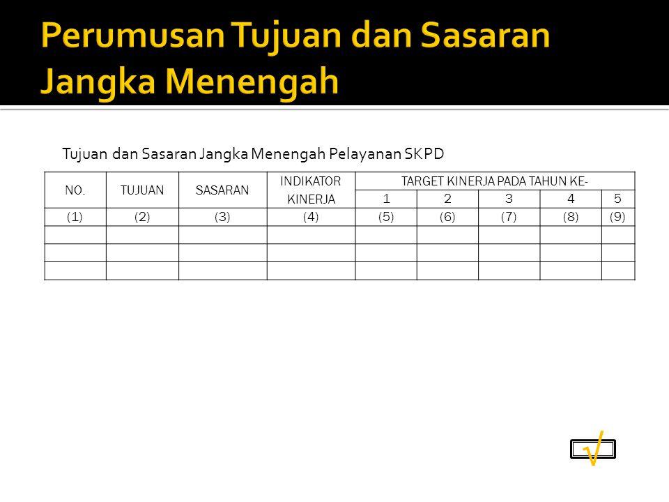 NO.TUJUANSASARAN INDIKATOR KINERJA TARGET KINERJA PADA TAHUN KE- 12345 (1)(2) (3)(4) (5)(6)(7)(8)(9) Tujuan dan Sasaran Jangka Menengah Pelayanan SKPD √