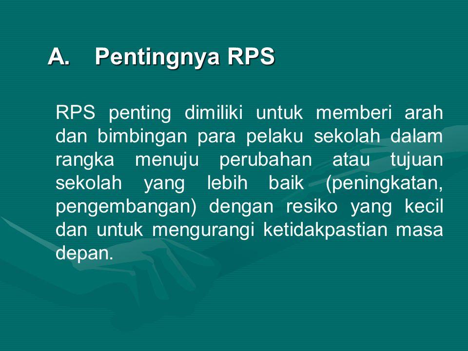 A.Pentingnya RPS RPS penting dimiliki untuk memberi arah dan bimbingan para pelaku sekolah dalam rangka menuju perubahan atau tujuan sekolah yang lebih baik (peningkatan, pengembangan) dengan resiko yang kecil dan untuk mengurangi ketidakpastian masa depan.