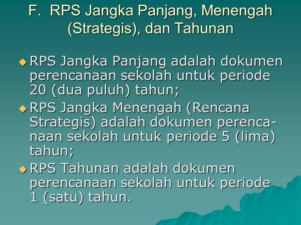 E. Sistem Perencanaan Sekolah (SPS)  SPS adalah satu kesatuan tata cara perencanaan sekolah untuk meng- hasilkan rencana-rencana sekolah (RPS) dalam