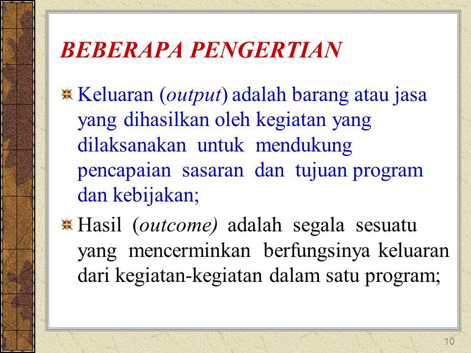 10 BEBERAPA PENGERTIAN Keluaran (output) adalah barang atau jasa yang dihasilkan oleh kegiatan yang dilaksanakan untuk mendukung pencapaian sasaran da