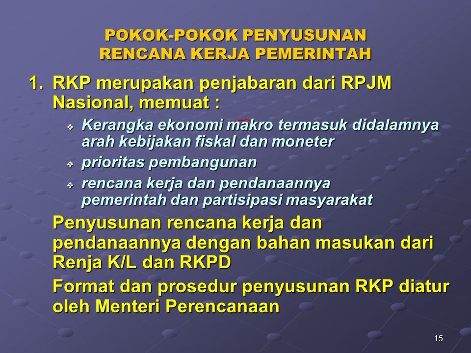 15 POKOK-POKOK PENYUSUNAN RENCANA KERJA PEMERINTAH 1.RKP merupakan penjabaran dari RPJM Nasional, memuat :  Kerangka ekonomi makro termasuk didalamny