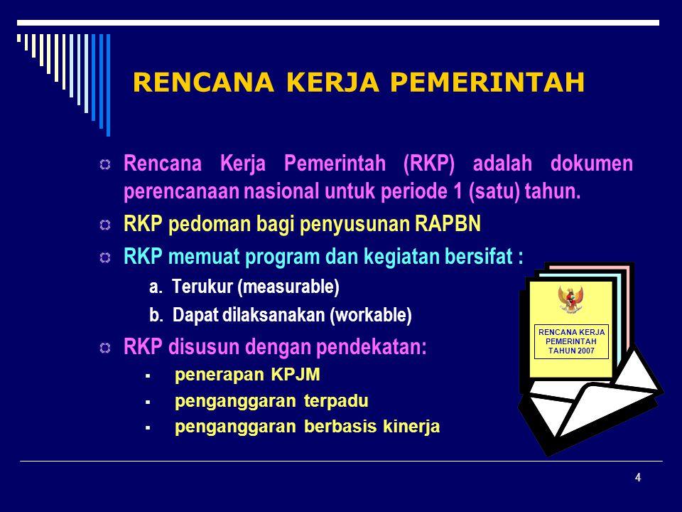4 RENCANA KERJA PEMERINTAH Rencana Kerja Pemerintah (RKP) adalah dokumen perencanaan nasional untuk periode 1 (satu) tahun. RKP pedoman bagi penyusuna
