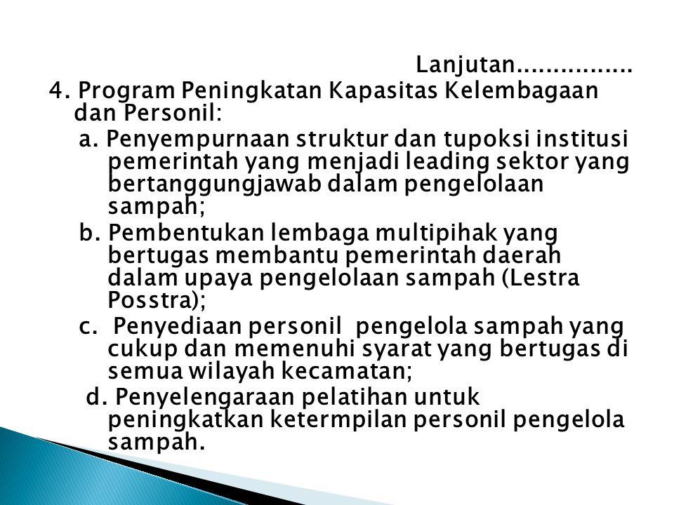 Lanjutan................4. Program Peningkatan Kapasitas Kelembagaan dan Personil: a.