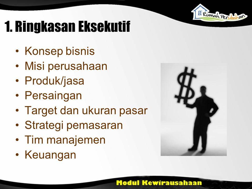 1. Ringkasan Eksekutif Konsep bisnis Misi perusahaan Produk/jasa Persaingan Target dan ukuran pasar Strategi pemasaran Tim manajemen Keuangan