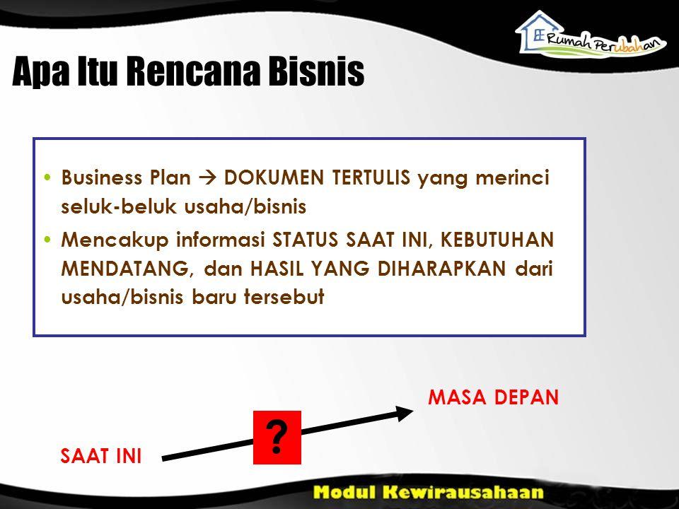 Business Plan  DOKUMEN TERTULIS yang merinci seluk-beluk usaha/bisnis Mencakup informasi STATUS SAAT INI, KEBUTUHAN MENDATANG, dan HASIL YANG DIHARAP