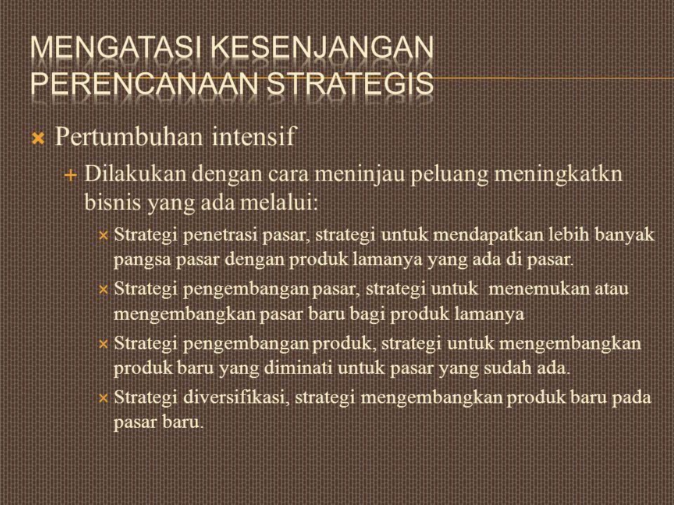  Pertumbuhan intensif  Dilakukan dengan cara meninjau peluang meningkatkn bisnis yang ada melalui:  Strategi penetrasi pasar, strategi untuk mendap