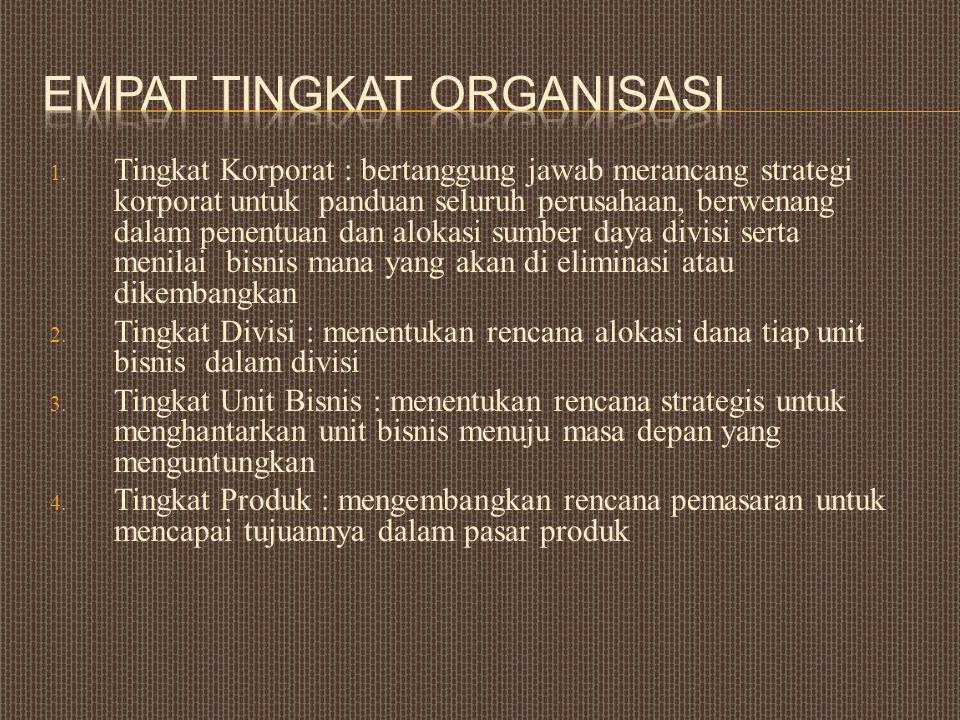 1. Tingkat Korporat : bertanggung jawab merancang strategi korporat untuk panduan seluruh perusahaan, berwenang dalam penentuan dan alokasi sumber day