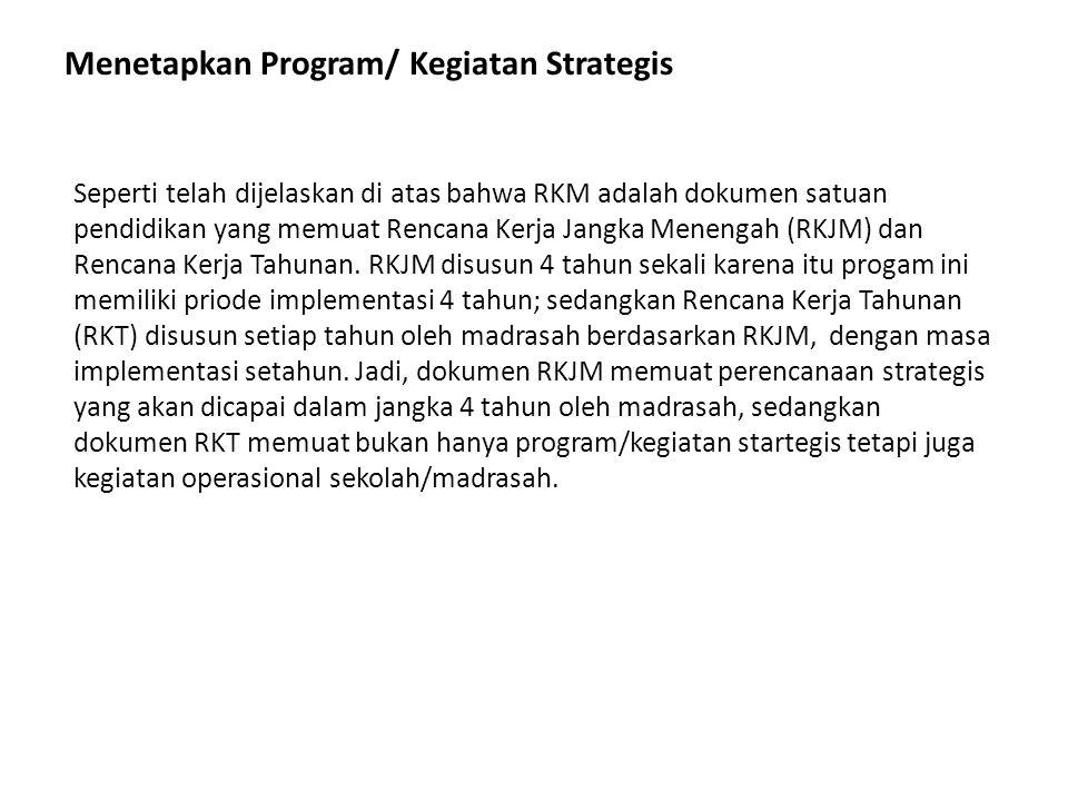 Menetapkan Program/ Kegiatan Strategis Seperti telah dijelaskan di atas bahwa RKM adalah dokumen satuan pendidikan yang memuat Rencana Kerja Jangka Me
